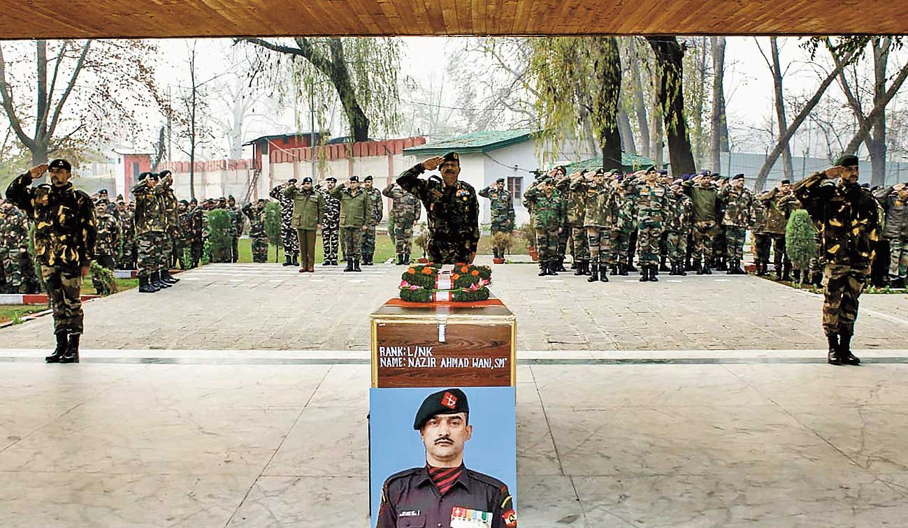 The army pays tribute to Lance Naik Nazir Ahmad Wani on November 26, 2018.