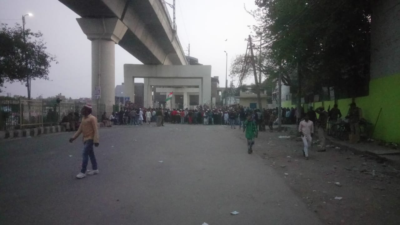 Anti-CAA protesters at Jaffrabad metro