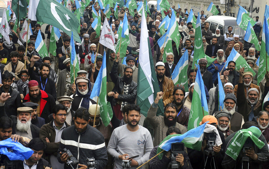 Protesters at an anti-India rally in Lahore, Pakistan.