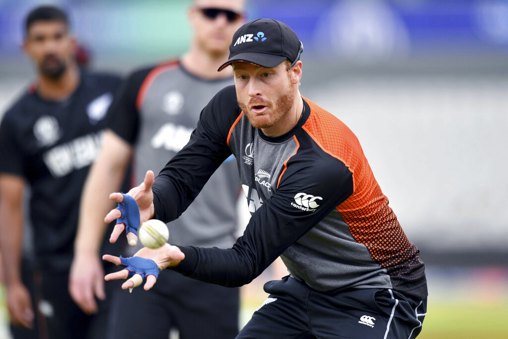 Martin Guptill during the nets session at Emirates Old Trafford in Manchester, England, Monday July 8, 2019. New Zealand will play India on Tuesday, in their Semi-final ODI Cricket World Cup match.