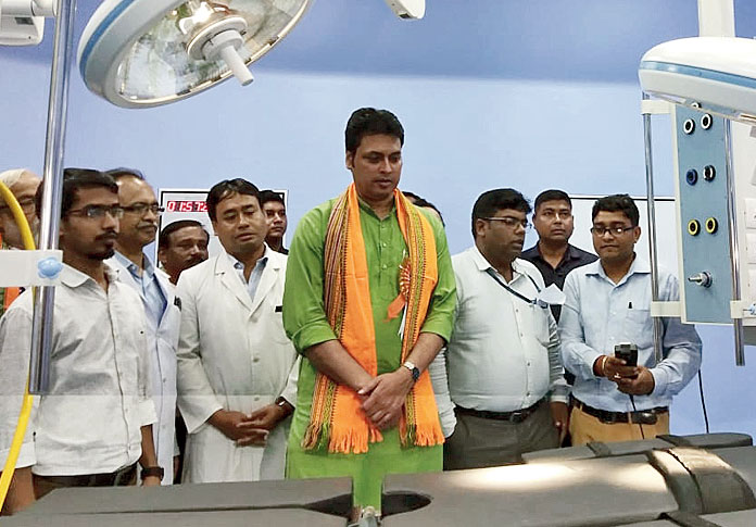 Tripura chief minister Biplab Kumar Deb at the Atal Bihari Vajpayee Regional Cancer Centre in Agartala on Monday .