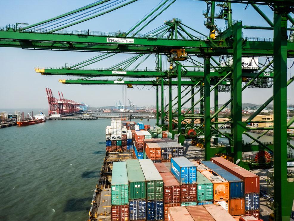 A container ship in Mumbai