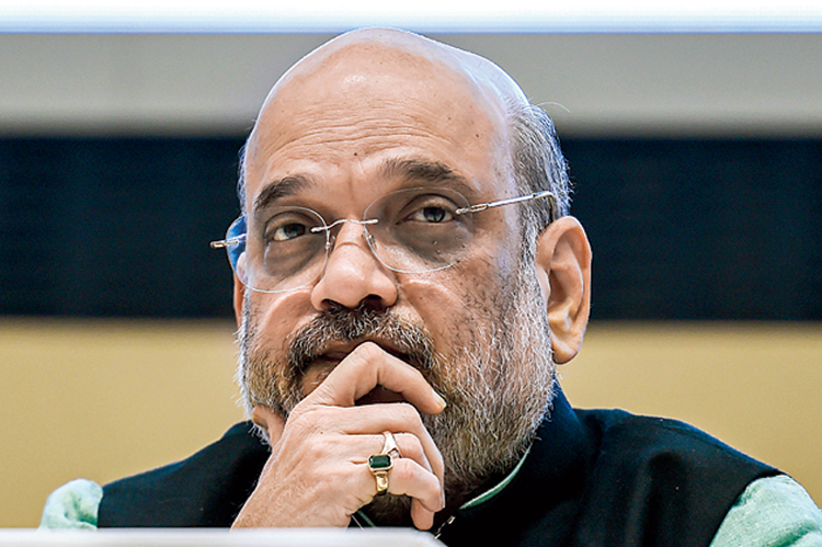 Union home minister Amit Shah during a conference on drug trafficking in New Delhi on Thursday