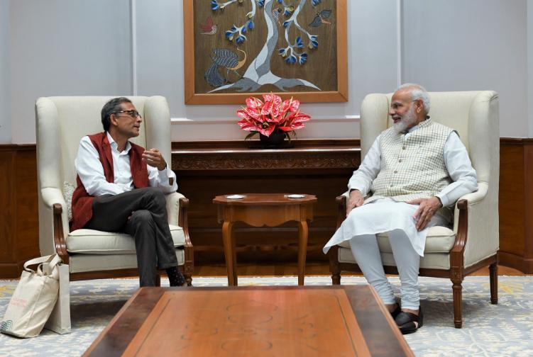 Abhijit Banerjee and Narendra Modi meet on October 22.