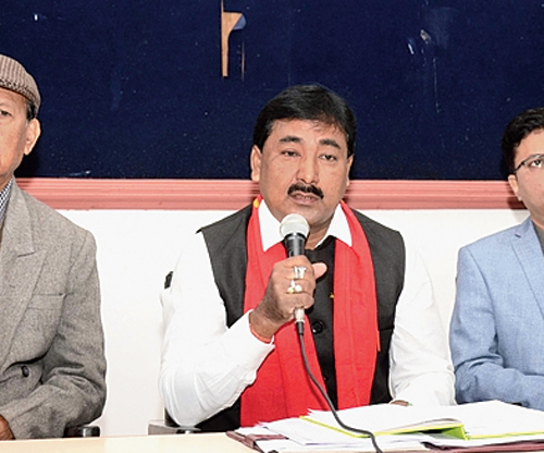 Sunil Rajkonwar addresses the news conference in Guwahati on Sunday
