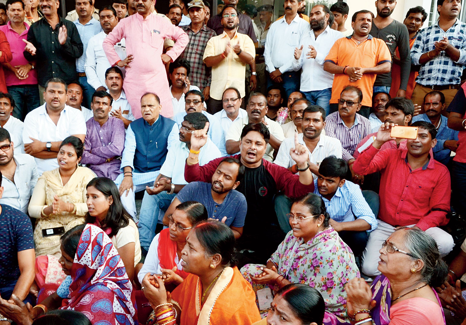 Urban development minister CP Singh at the dharna outside Kotwali thana in Ranchi on Wednesday.
