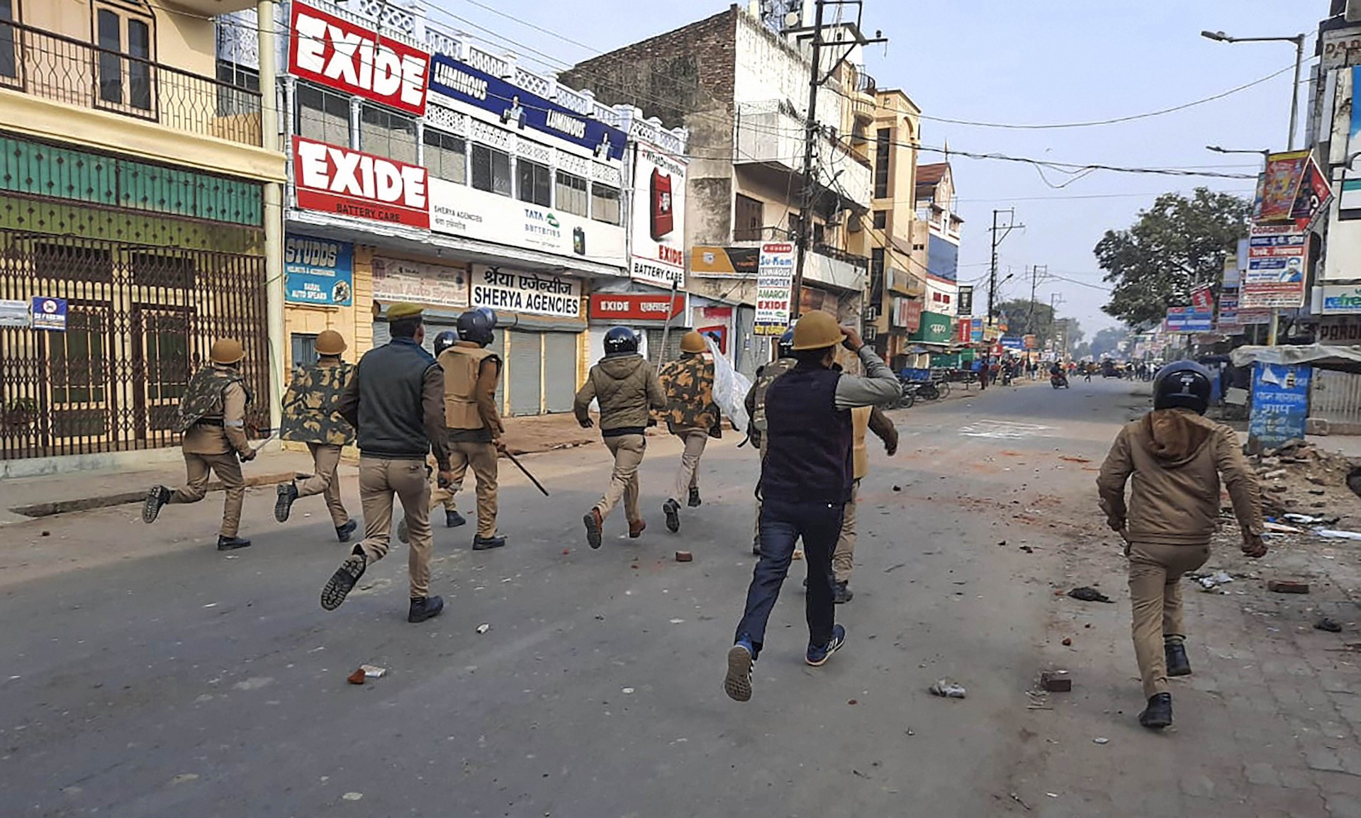 Police clash with protestors during a rally against the Citizenship Amendment Act in Bahraich district of Uttar Pradesh on Friday, December 20, 2019.