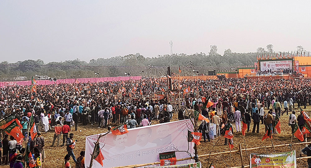 The crowd at Shah's rally at Nityanandapur on Tuesday