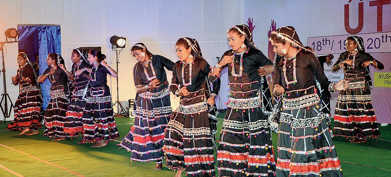 Students perform a Rajasthani dance at Xavier Utsav in Ranchi on Tuesday morning.