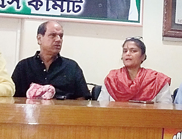 Sushmita Dev addresses the news conference in Silchar on Thursday