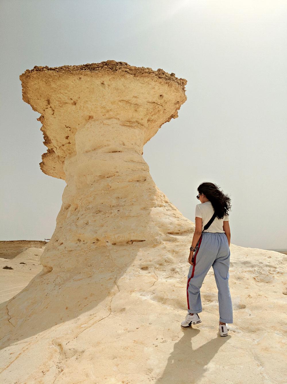 Bir Zekreet is dotted with interesting, mushroom-like, wind-sculpted limestone formations