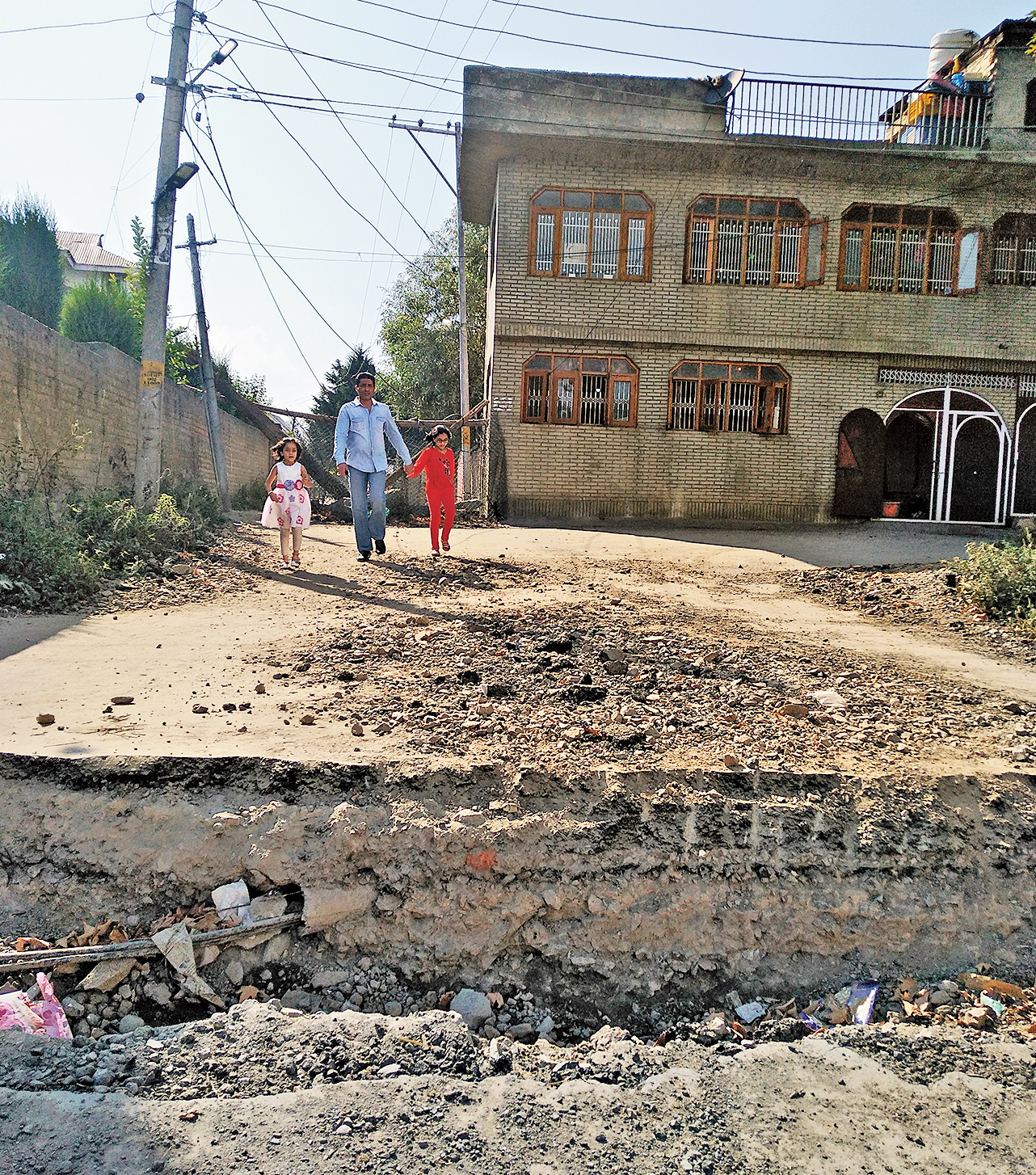One of the roads leading to Anchar in Srinagar. The road has been dug up to prevent security forces from entering the area.