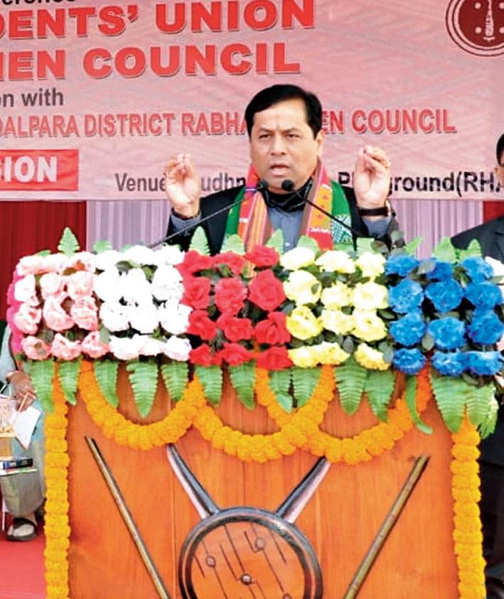 Sarbananda Sonowal speaks at Dudhnoi on Saturday