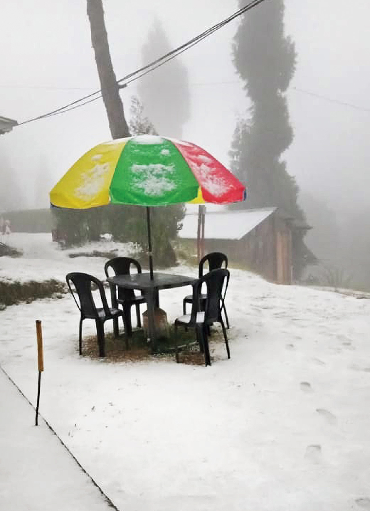 Rishyap in Kalimpong district after the snowfall on Friday morning.