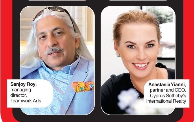 Sanjoy Roy, managing director, Teamwork Arts and Anastasia Yianni, partner and CEO, Cyprus Sotheby's International Realty