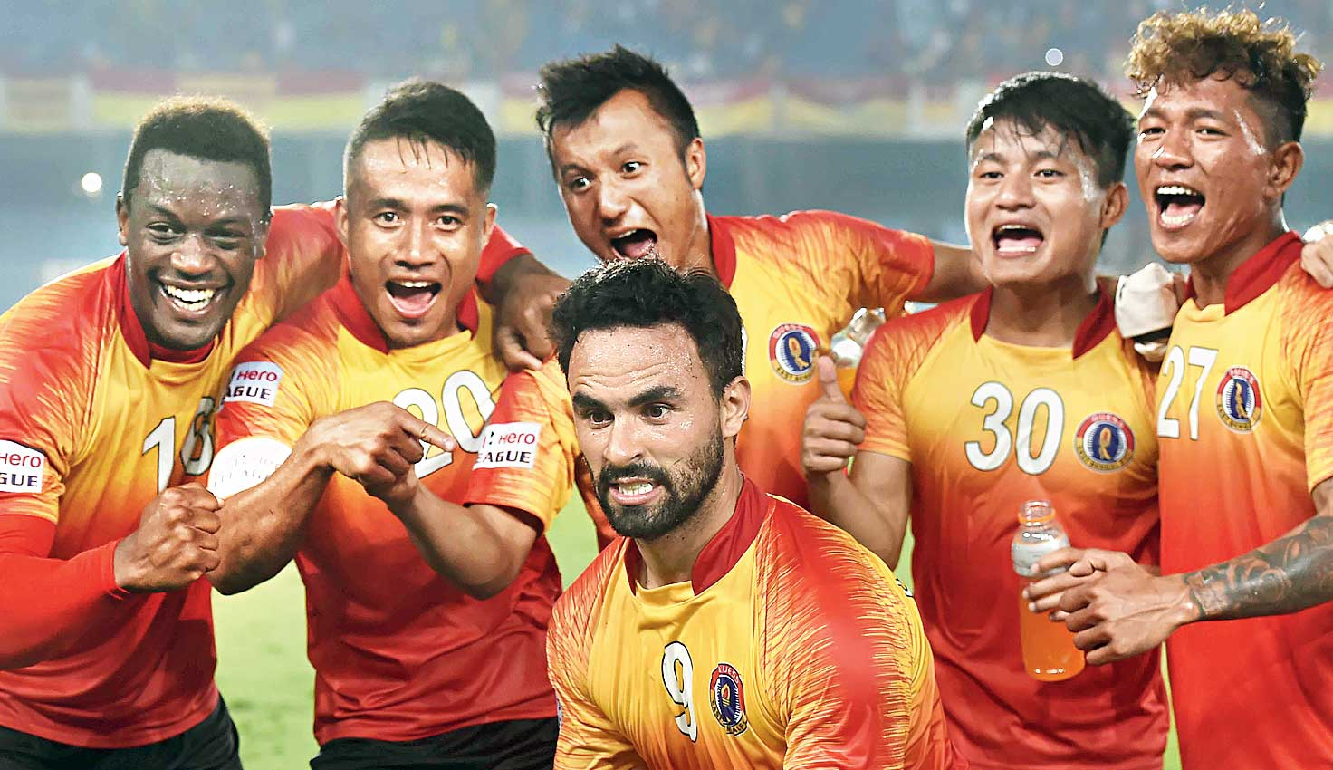 East Bengal players celebrate after the win on Thursday.