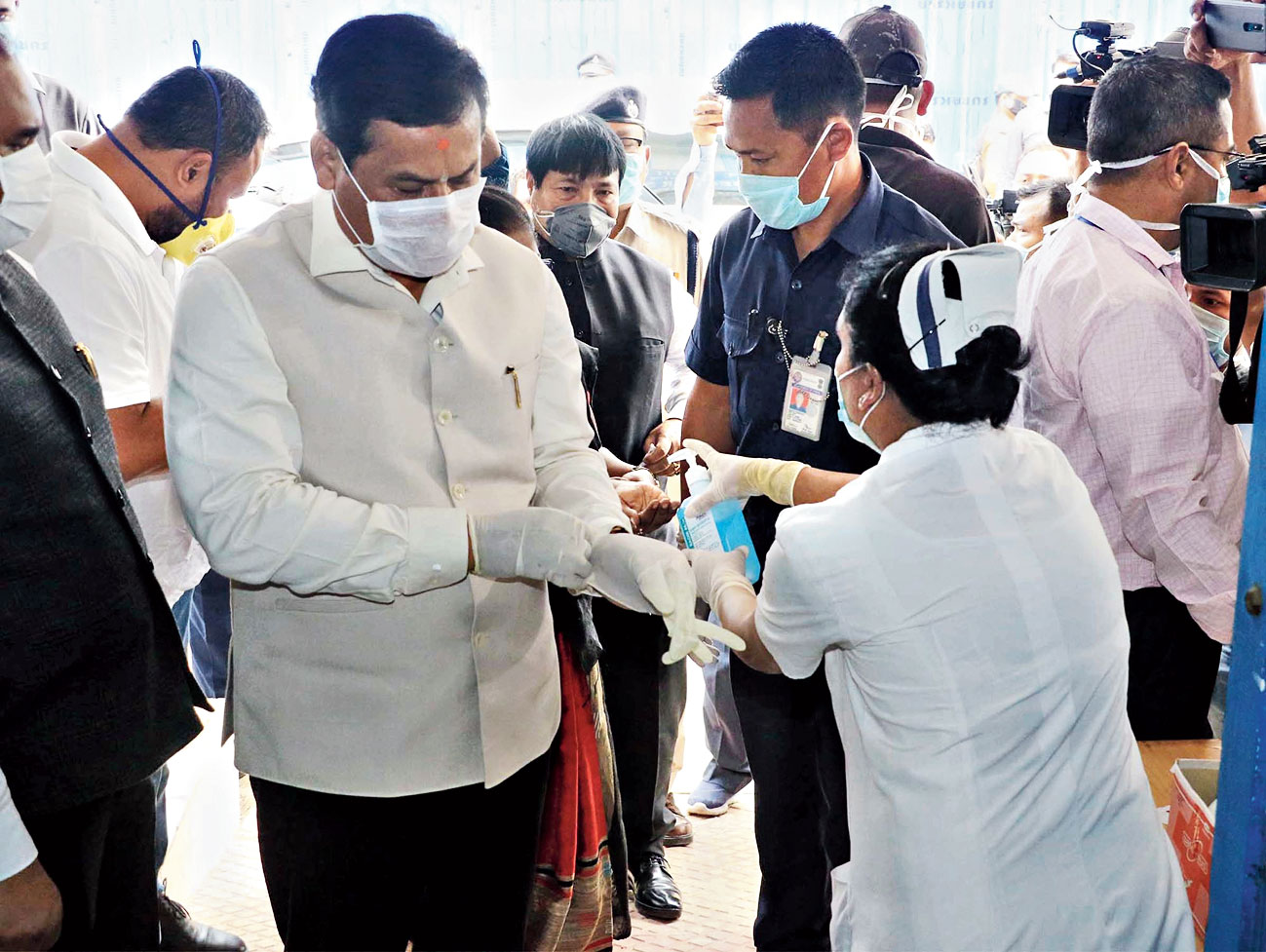 Chief minister Sarbananda Sonowal at Jorhat Medical College and Hospital on Friday.
