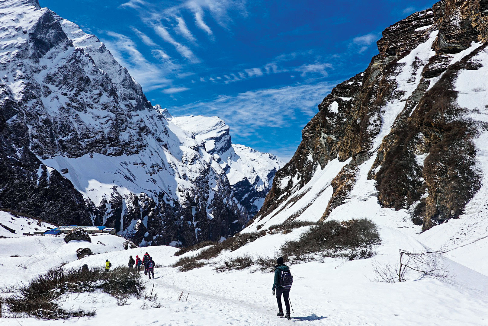 Snowfall makes the landscape stunning, but the trek gets very strenuous