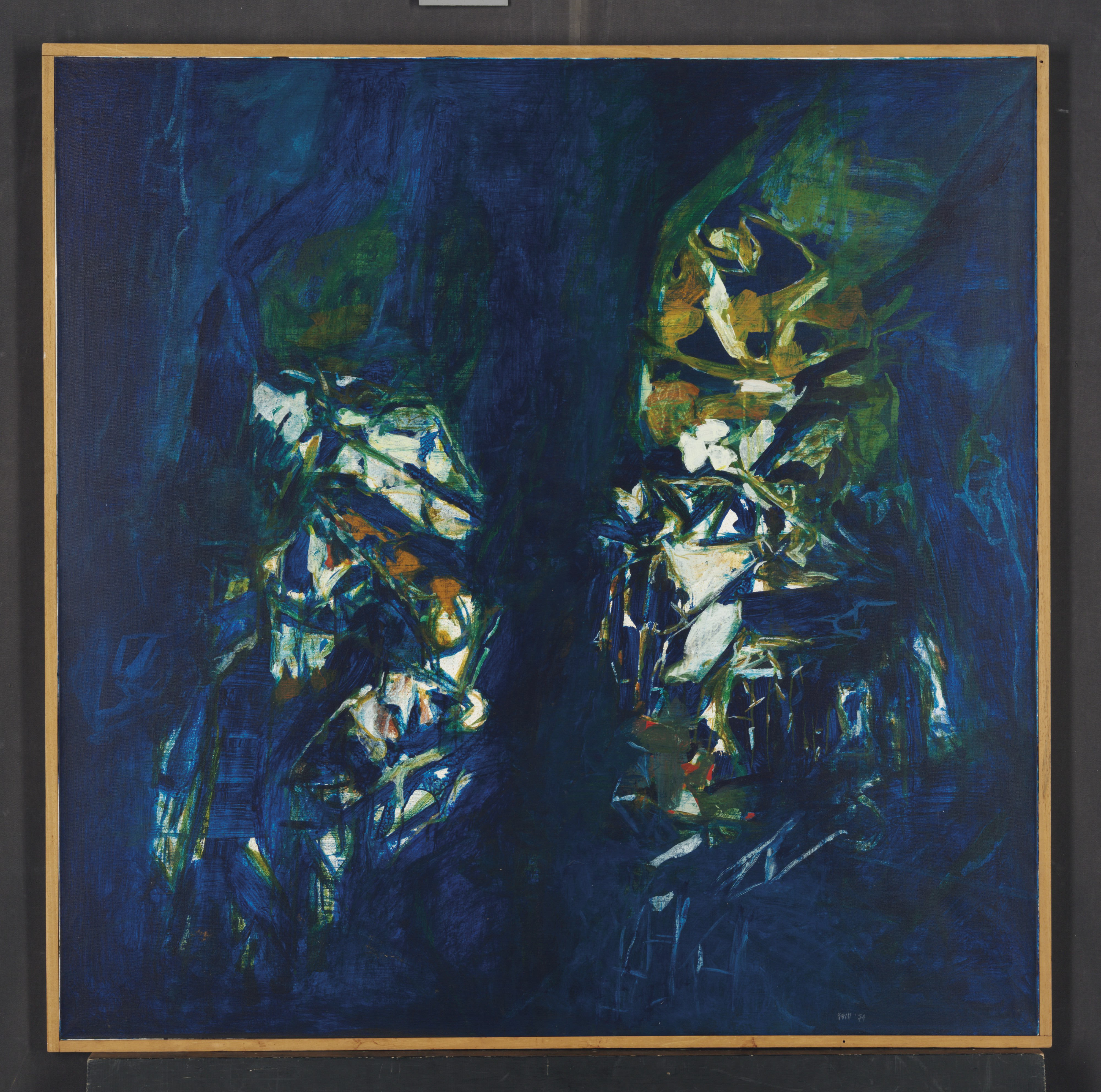 La Mer, S H Raza. Syed Haider Raza (1922-2016) was one of the first of the Progressive Artists' Group to make the move from India to Europe, settling in Paris in 1950. Painted in 1974, 'La Mer' is an important painting from a key period in Raza's career, when, after many years working within the style of the École de Paris, he began to integrate vital elements of his Indian childhood and cultural heritage into his paintings. 'La Mer' exemplifies Raza's use of colour as well as his symbolic engagement with nature. Raza felt that nature was a tremendous source of power that could not be portrayed in traditional landscapes. It had to be captured through his vivid palette and gestural brush strokes. (Estimate: $200,000-300,000)