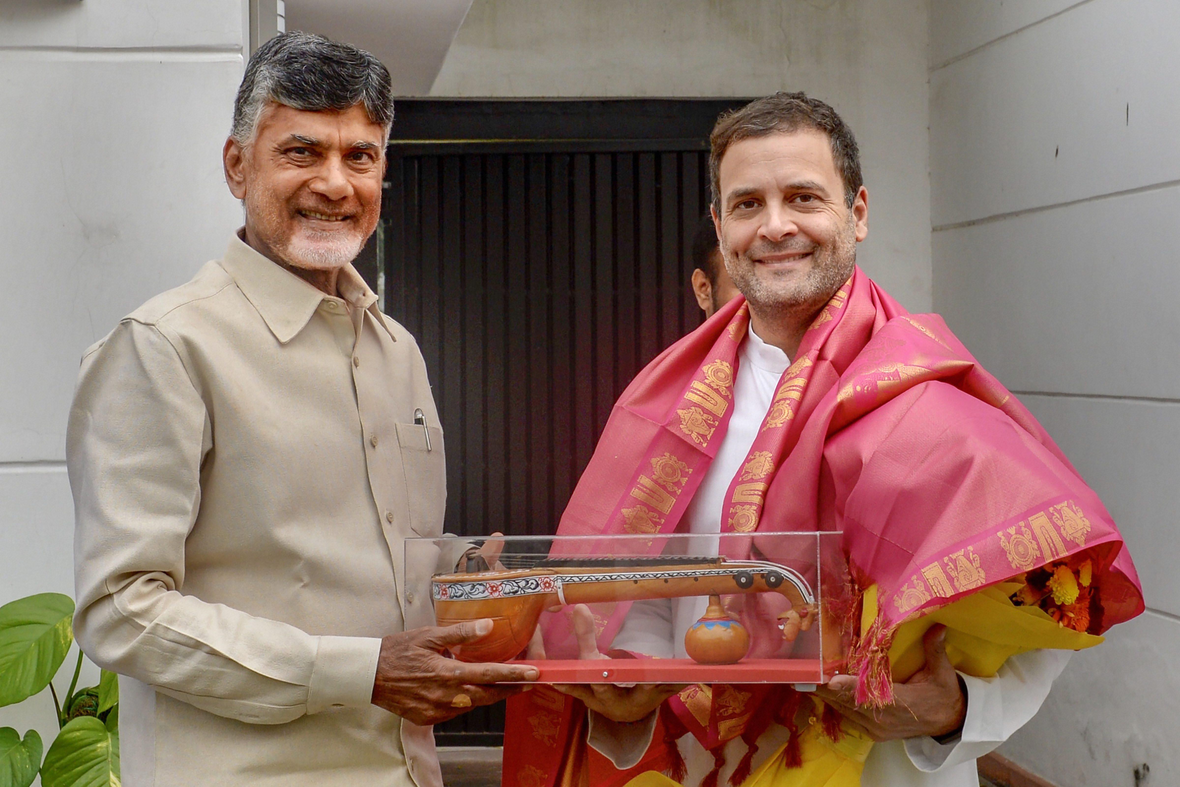 Former chief minister of Andhra Pradesh N. Chandrababu Naidu with Congress leader Rahul Gandhi in New Delhi.