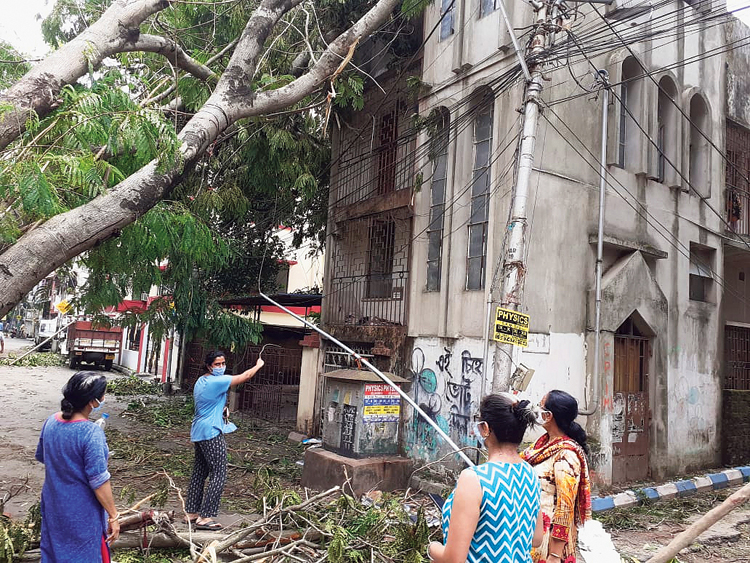 Vijaylakshmi Dubey, a resident of Suryanagar near Bansdroni, along with her mother Ratna Dubey and some of their neighbours, points to a tree that crashed on the wires in front of their home on Wednesday when the cyclone struck.