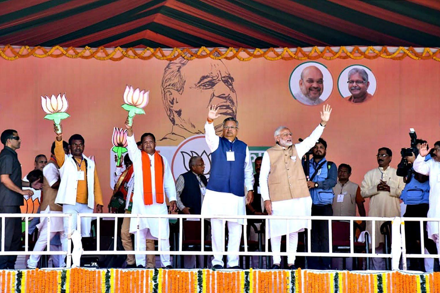 Prime Minister Narendra Modi during an election rally at Jagdalpur in Bastar district on November 9.
