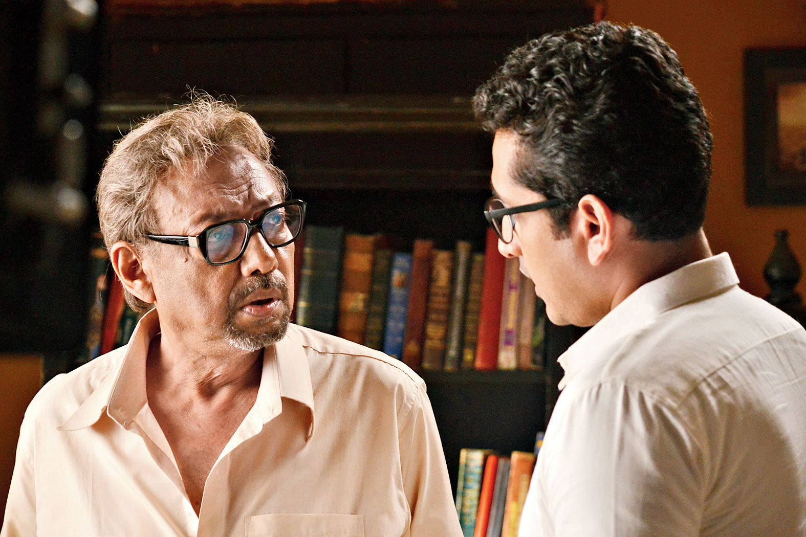 Anjan Dutt and Parambrata in Satyanweshi Byomkesh, which releases today