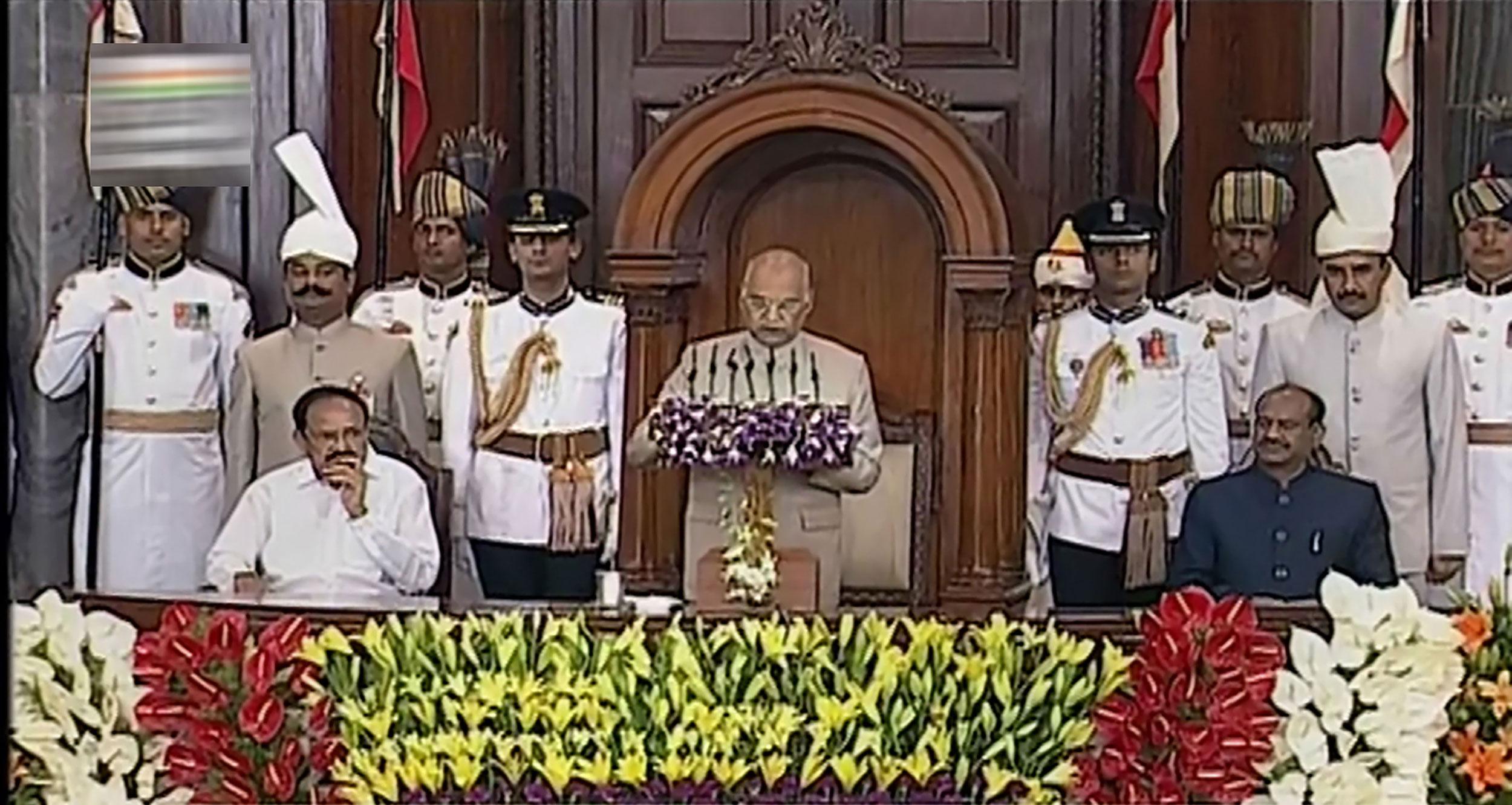 President Ram Nath Kovind addresses a joint session of Parliament in the presence of Vice President Venkaiah Naidu and Lok Sabha Speaker Om Birla, in New Delhi, on June 20, 2019.