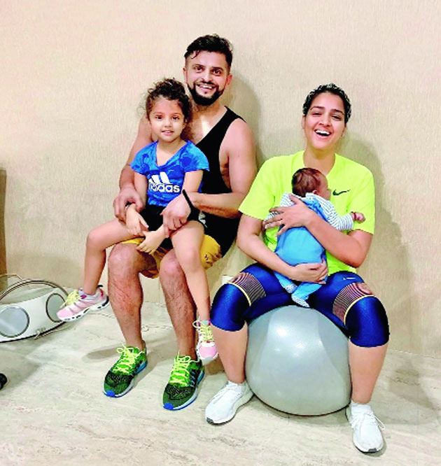 """Suresh Raina at home with wife Priyanka and their children, daughter Gracia and son Rio. """"Happy & healthy parents, raise happy & healthy children,"""" he wrote on Monday in an Instagram post against domestic violence and child abuse cases"""