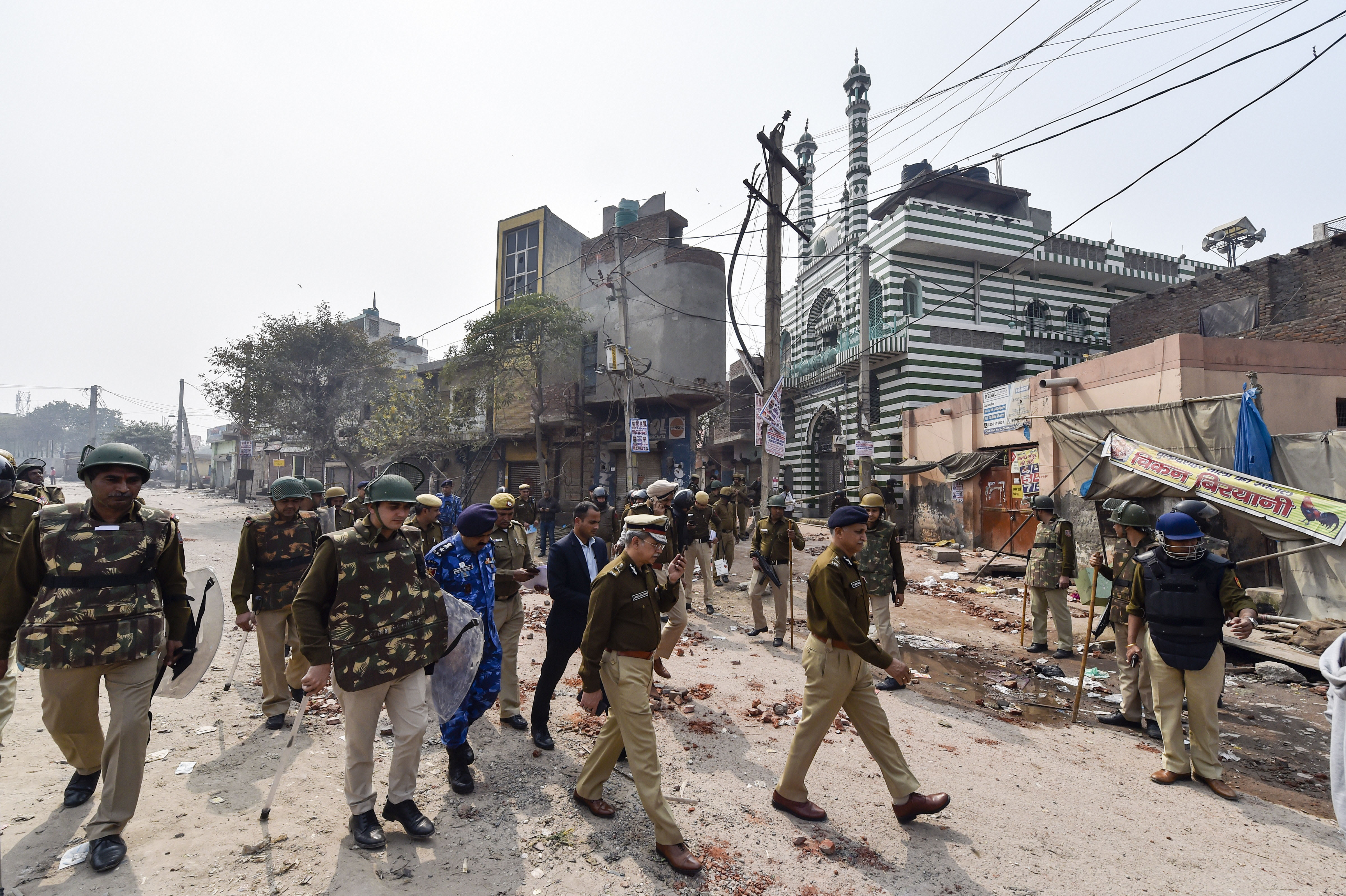 Delhi Police Special Commissioner (Law and Order) S N Shrivastava inspects Johar area of the riot-affected north east Delhi on Wednesday