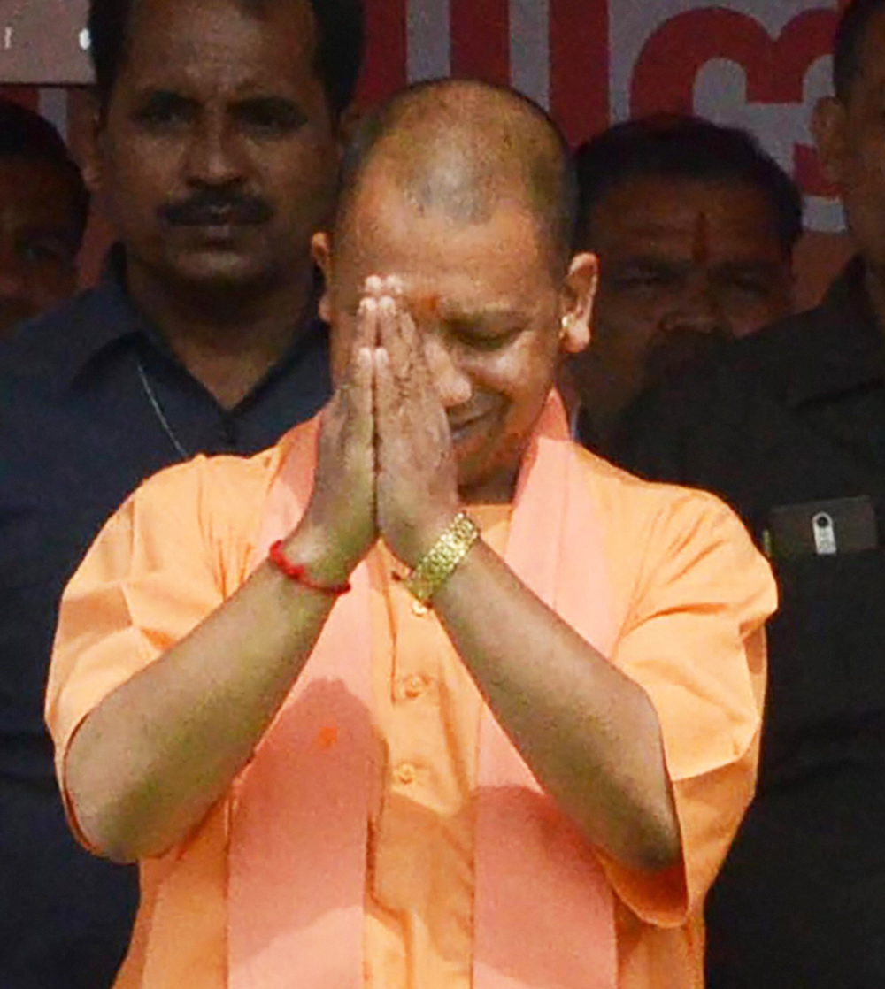 Uttar Pradesh Chief Minister Yogi Adityanath during an election campaign for BJP candidate and sitting MP Hema Malini for the upcoming Lok Sabha polls in Mathura on Monday, March 25, 2019.