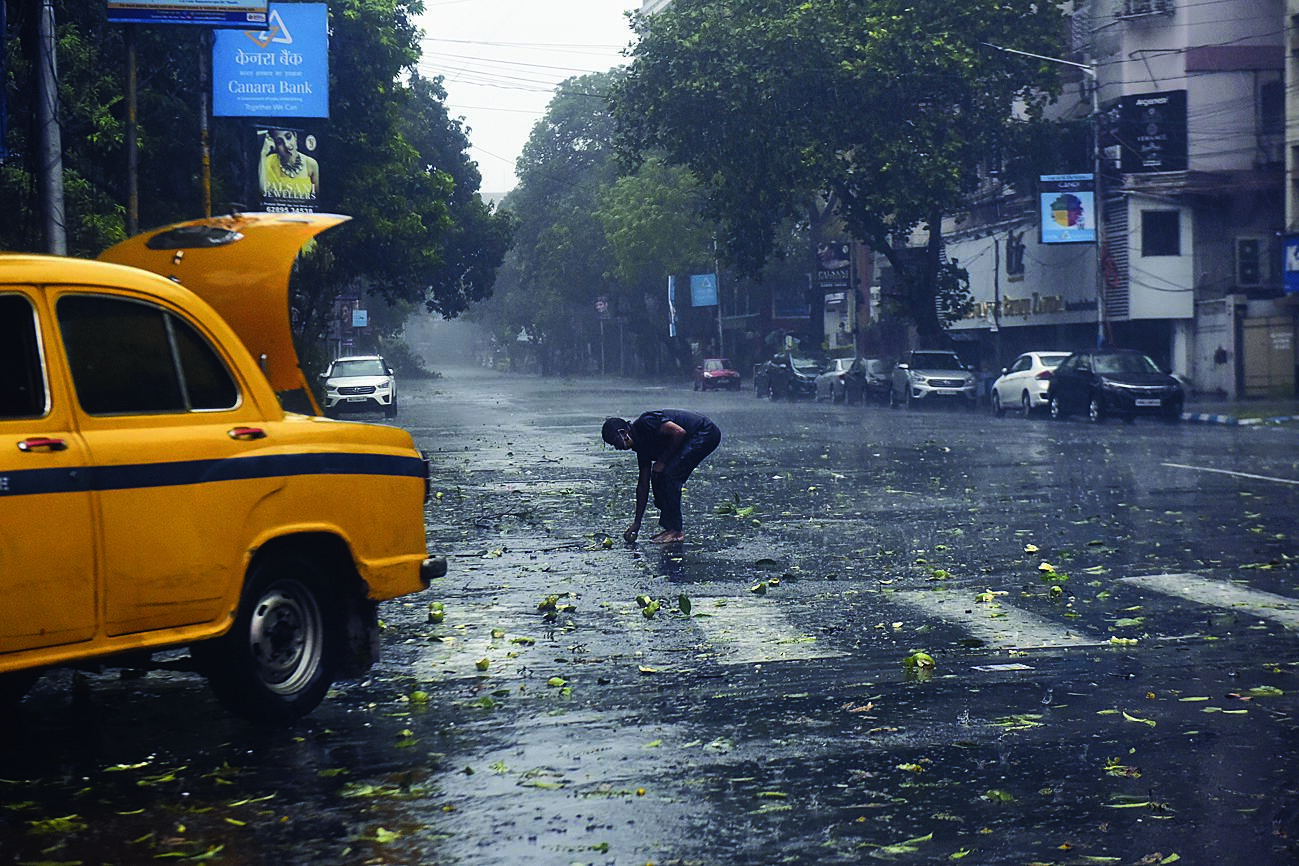 A taxi driver picks up mangoes from the road, unmindful of the devastating cyclone.