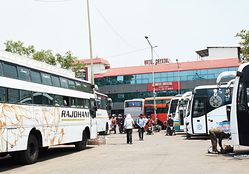Long distance buses parked at Sitaramdera terminus in Jamshedpur on Tuesday.