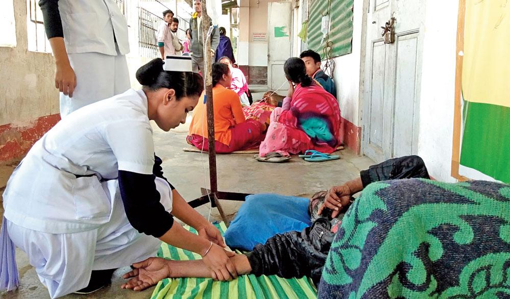 Nurses attend to hooch victims at Golaghat civil hospital