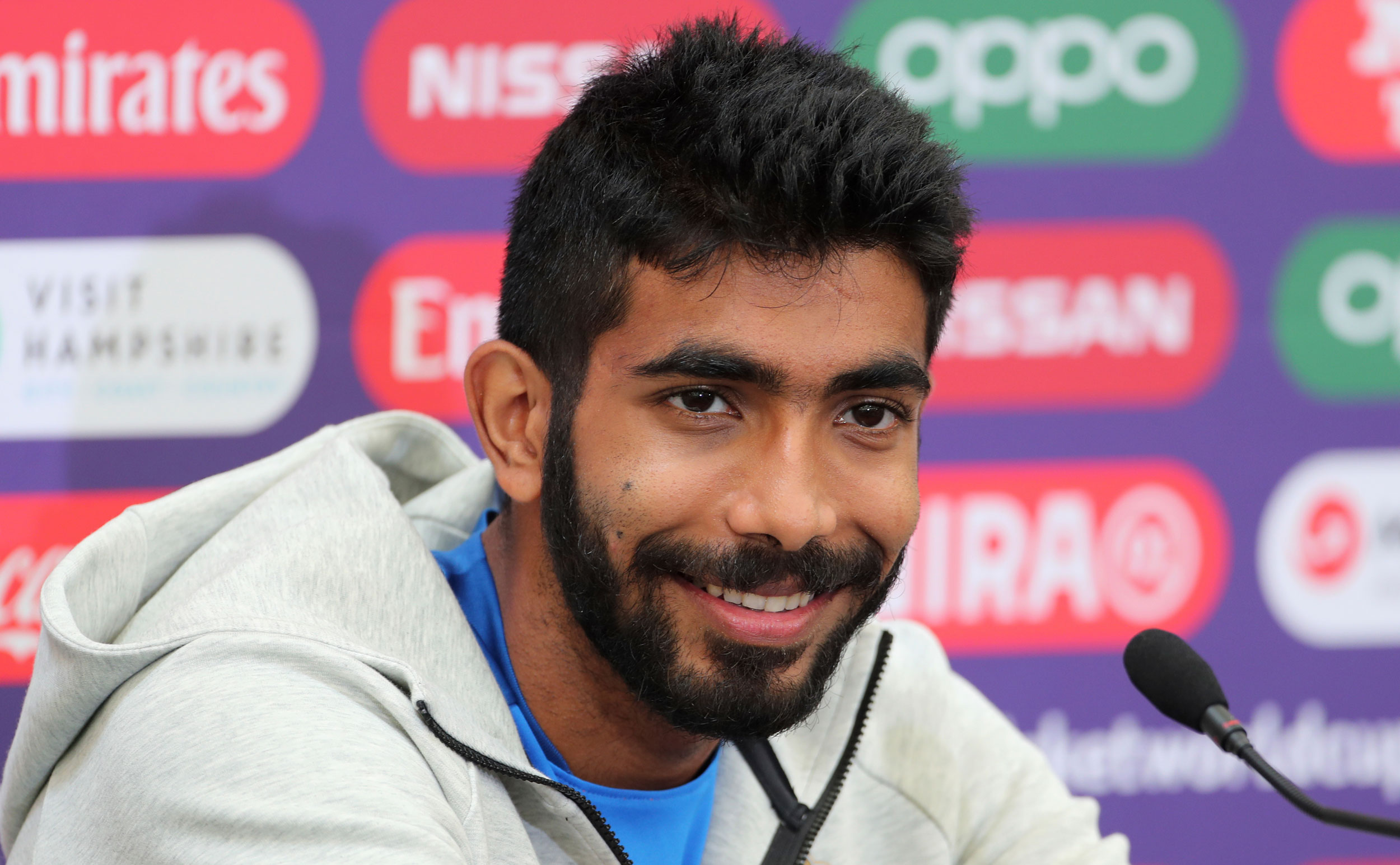 Jasprit Bumrah speaks at a press conference after attending a training session ahead of their ICC Cricket World Cup match against Afghanistan at the Hampshire Bowl in Southampton, England, on June 20, 2019.