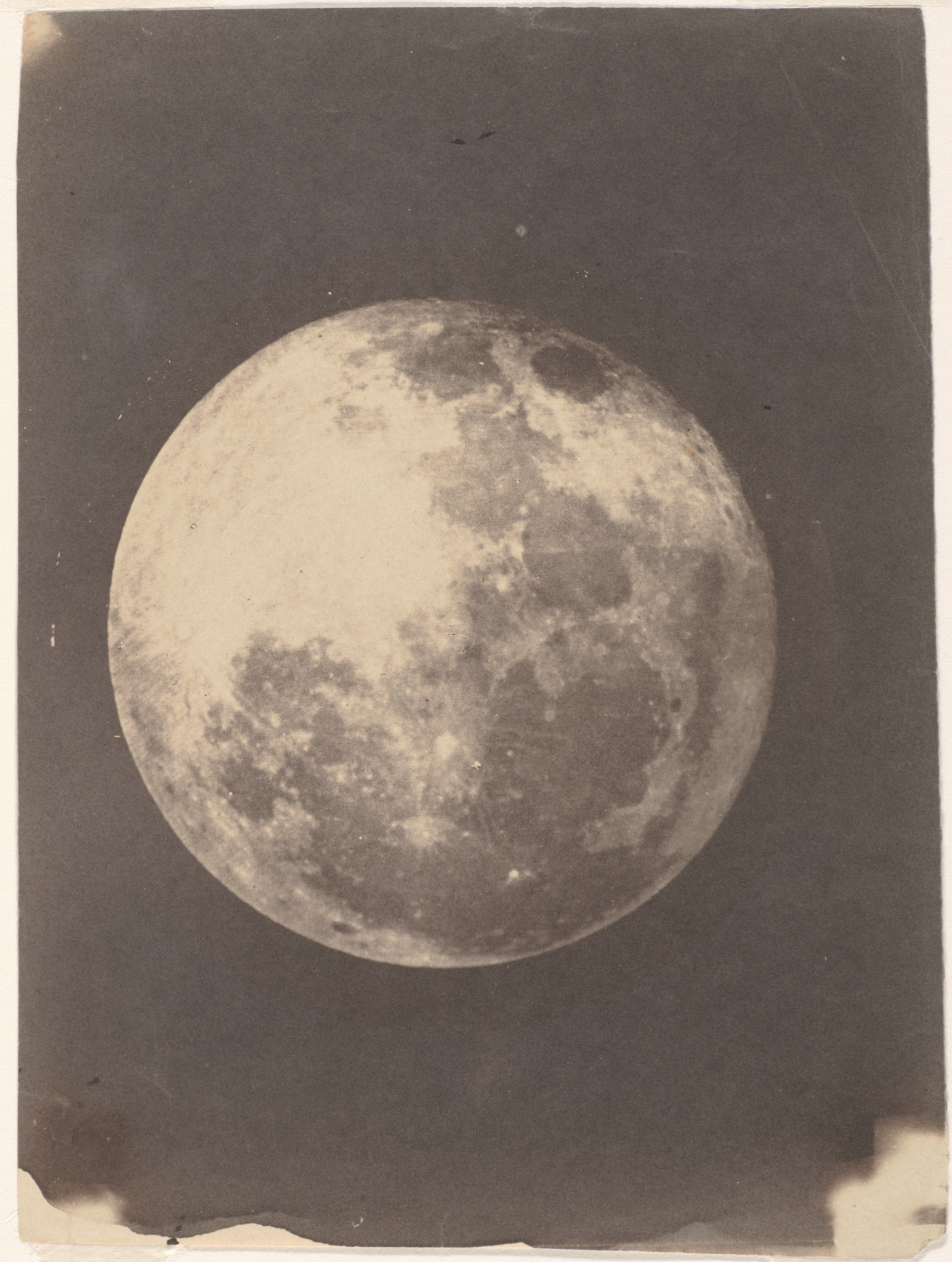 John Adams Whipple, (American, 1822–1891); James Wallace Black, (American, 1825–1896); The Moon, 1857–60; Salted paper print from glass negative; 8 7⁄16 x 6 5⁄16 in. (21.4 x 16 cm)