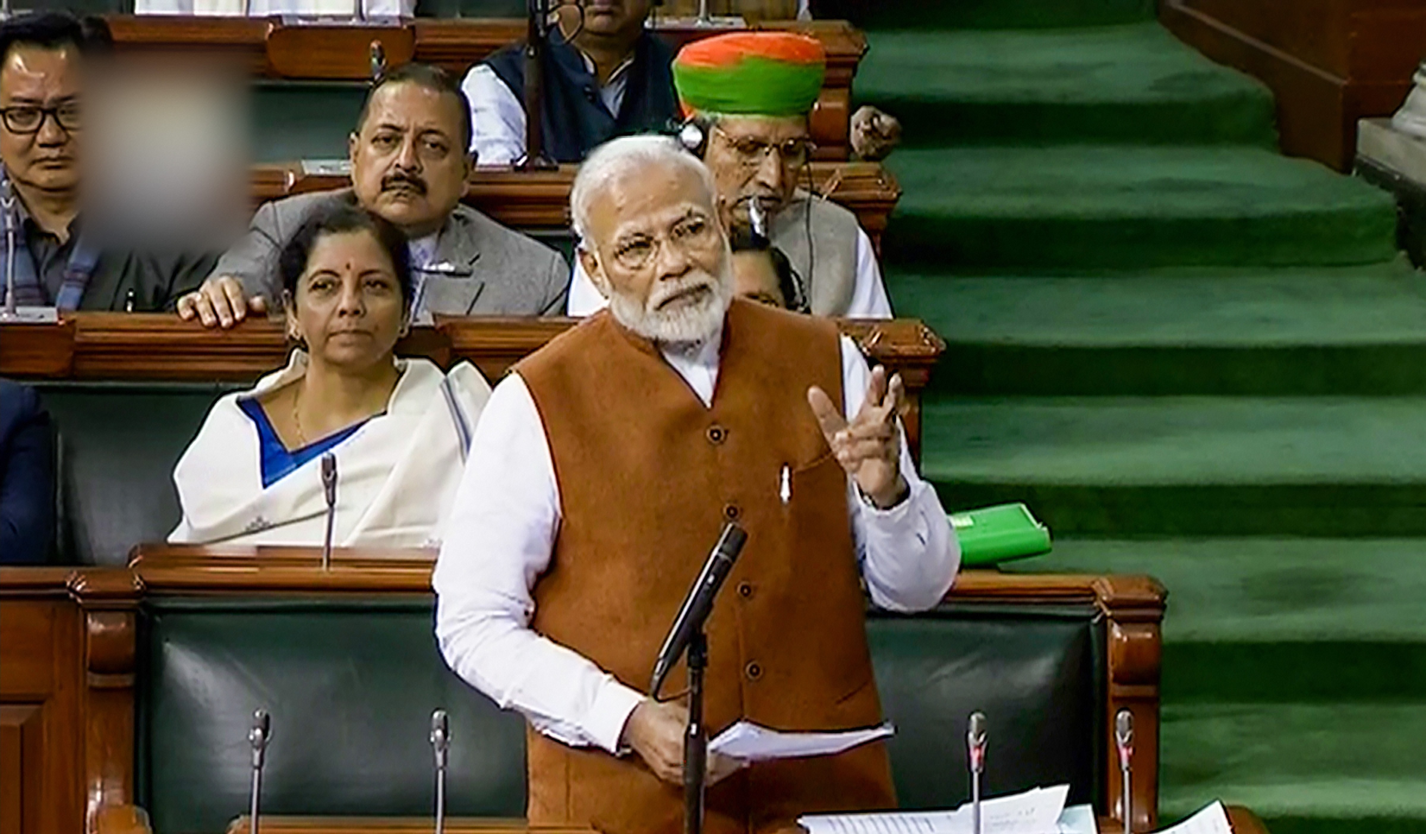 Prime Minister Narendra Modi speaks in the Lok Sabha during the ongoing Budget Session of Parliament, in New Delhi, Thursday, February 6, 2020