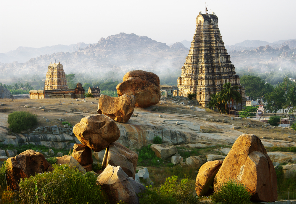 The ruins of the Vijayanagara empire in Hampi, Karnataka. The quality of service offered to travellers — such as accommodation and transportation — at popular sites in Delhi, Agra, Rajasthan, Goa and Kerala far outstrip the facilities available in centres considered less 'important'