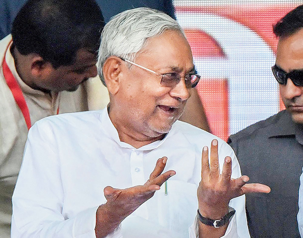 Nitish Kumar at an election rally in Darbhanga on Thursday