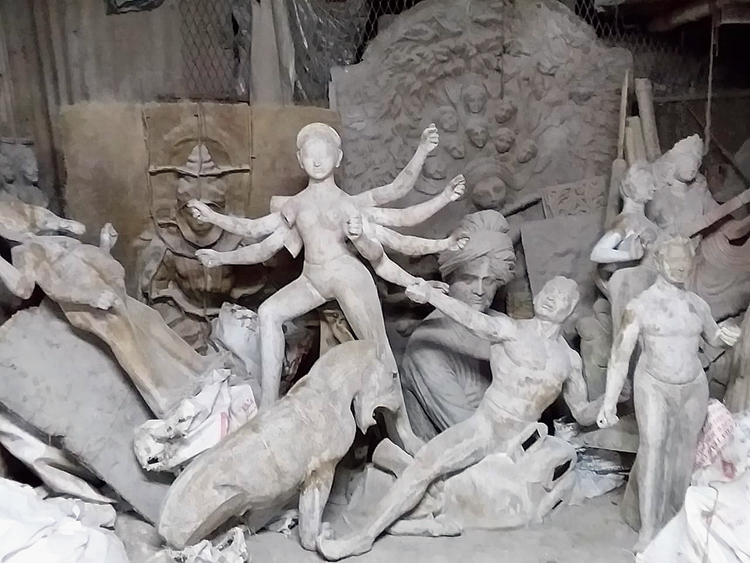 A Durga idol at the studio of Mintu Pal, an artist in Kumartuli who has been sending idols abroad for close to 10 years