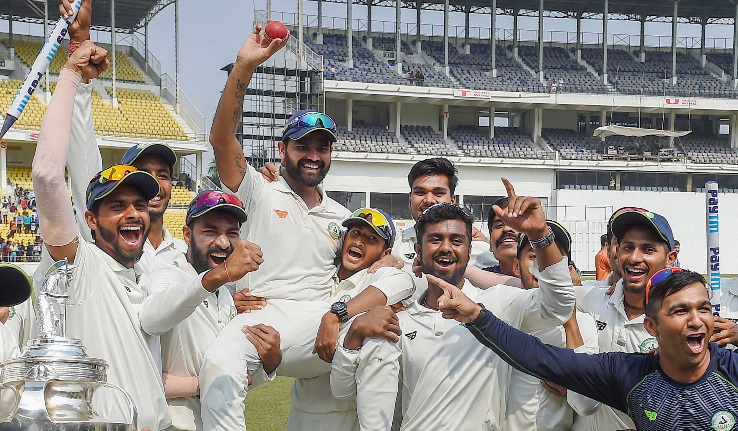 Vidarbha team with the trophy after defeating Saurashtra in the final cricket match of the Ranji Trophy 2018- 19, in Nagpur, on February 7, 2019.