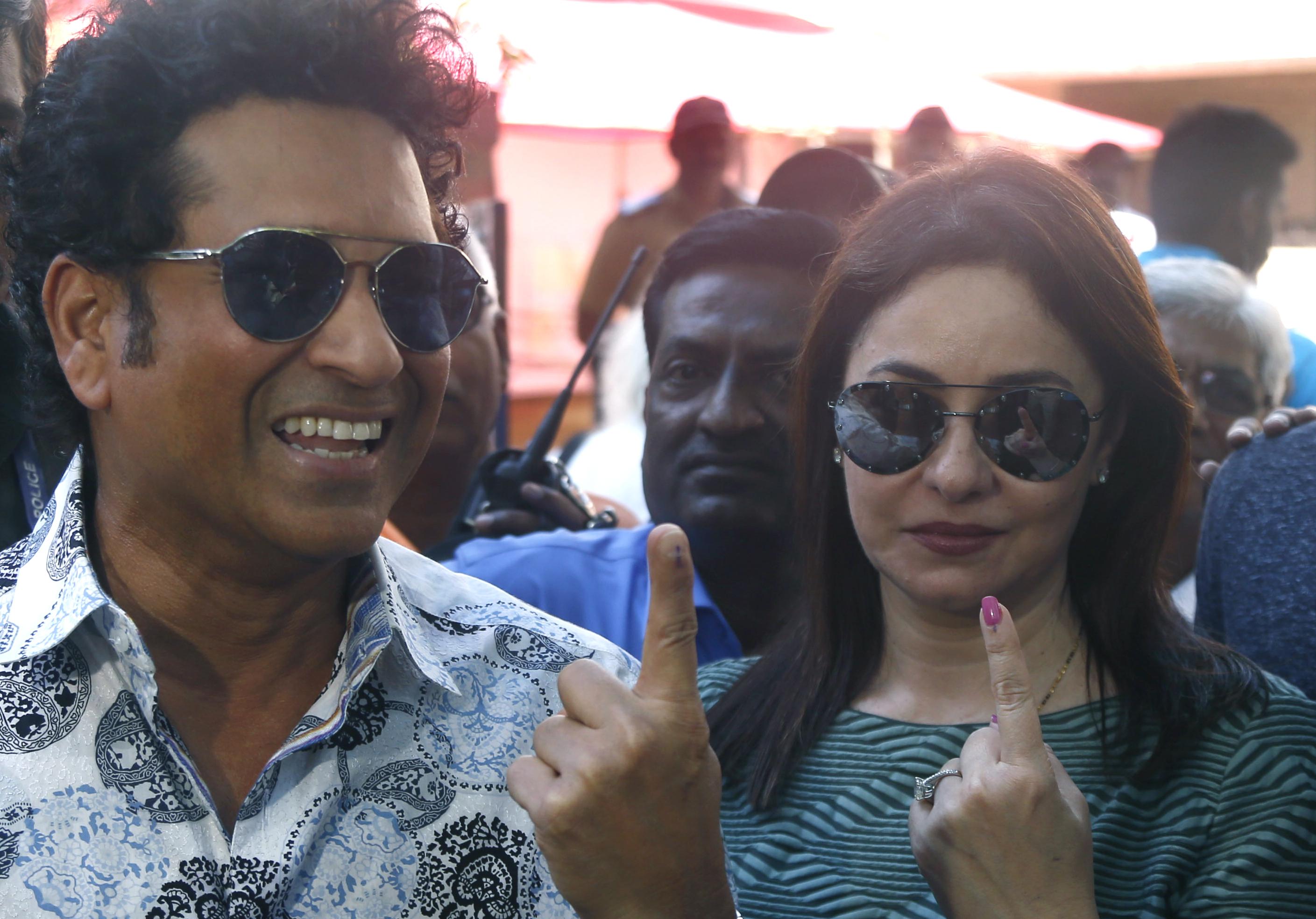 Sachin Tendulkar and wife Anjali after voting