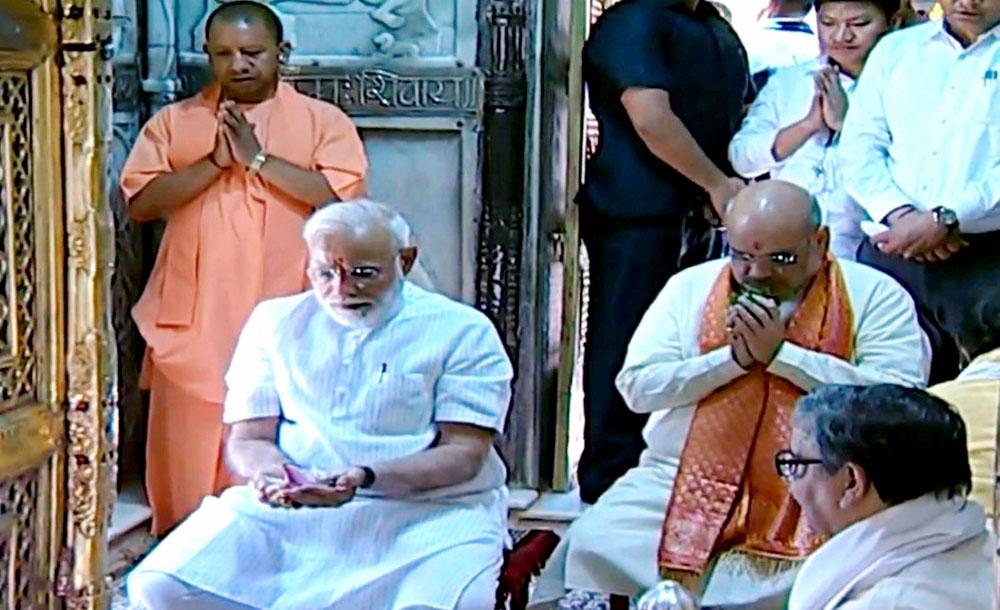 Narendra Modi and BJP president Amit Shah at Kashi Vishwanath Temple in Varanasi earlier on Monday