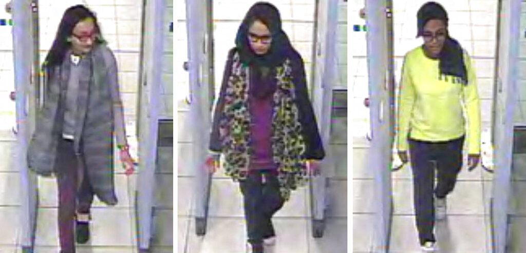 This February 23, 2015 file handout image taken from CCTV issued by the Metropolitan Police shows Kadiza Sultana (left), Shamima Begum (centre) and Amira Abase going through security at Gatwick airport, south England, before catching their flight to Turkey.