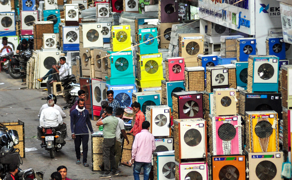 An air cooler market in Nagpur, Friday, March 29, 2019.