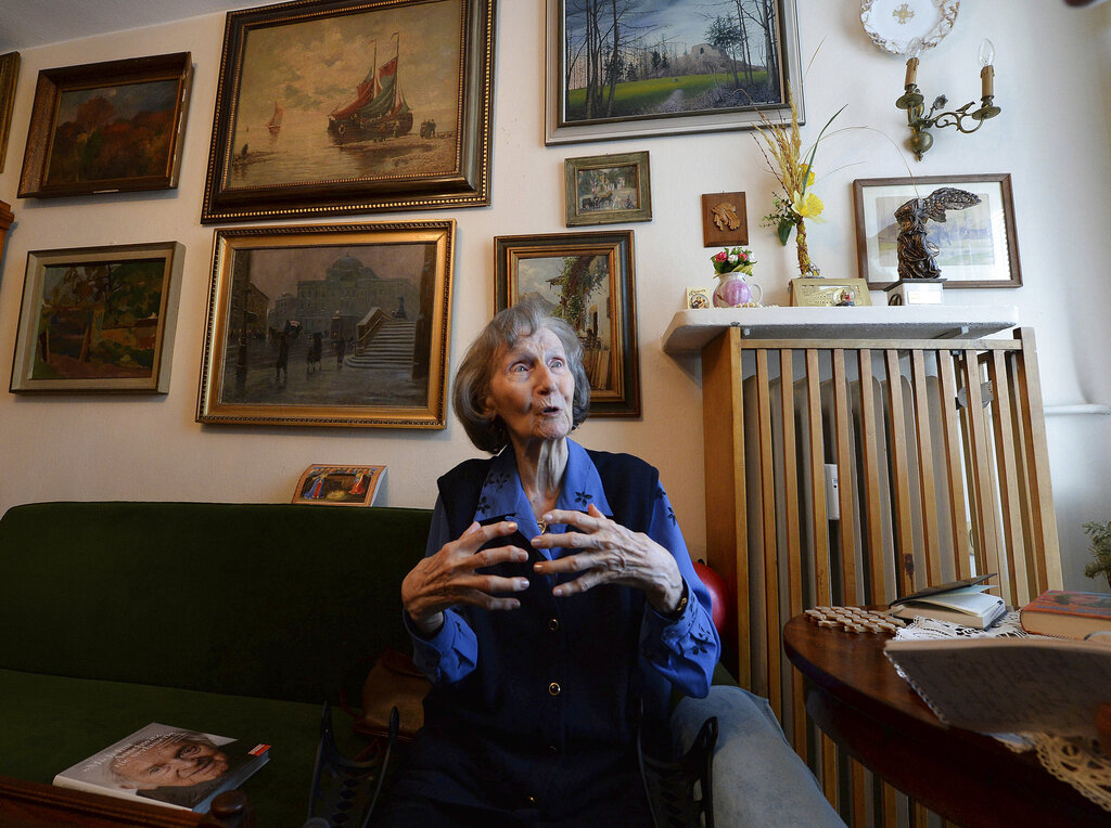 Zofia Posmysz, a 96-year-old Polish Catholic woman who survived the Nazi German concentration camps of Auschwitz and Ravensbrueck, poses at her home in Warsaw, Poland
