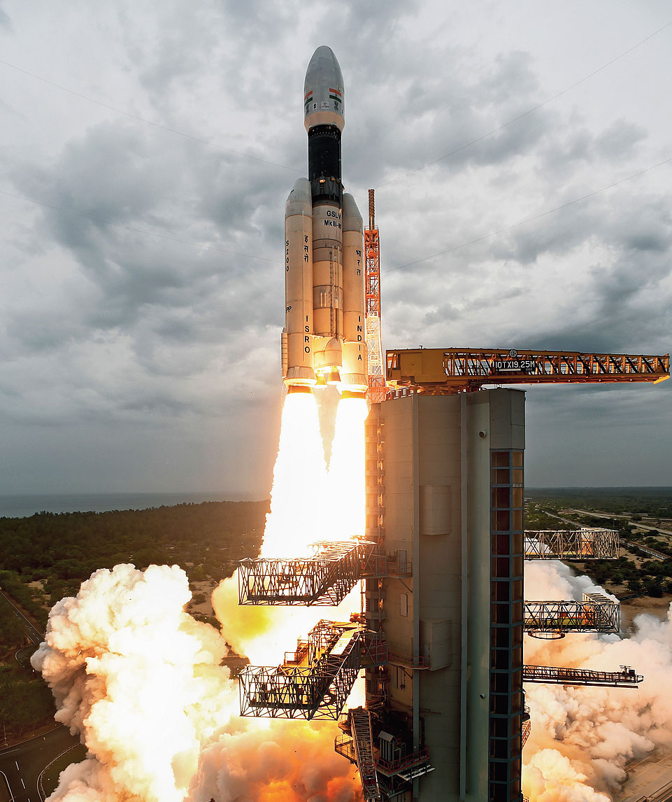 This July 22, 2019, photo from ISRO shows Chandrayaan-2, with the Geosynchronous Satellite Launch Vehicle (mark III-M1), being launched from the Satish Dhawan Space Centre in Sriharikota