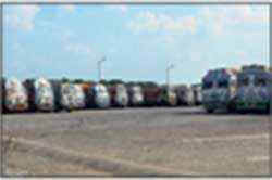 Trucks at a parking lot in Bongaon near the Petrapole integrated checkpost.
