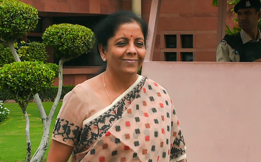 Finance minister Nirmala Sitharaman in New Delhi on Tuesday. She raised the defence budget (including pensions) to Rs 4.31 lakh crore in 2019-20 from Rs 4.04 lakh crore in the budget estimate for the previous year, an increase of 6.58 per cent
