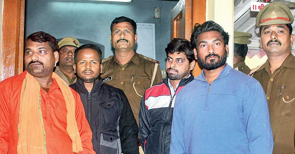 Four people arrested for assaulting Kashmiri dry fruit vendors in Lucknow on Thursday.